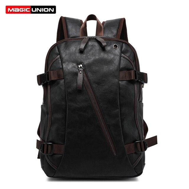 MAGIC UNION Men Oil Wax Leather Backpack Men's Casual Backpack & Travel Bags Western College Style Man Backpacks Mochila Zip Men
