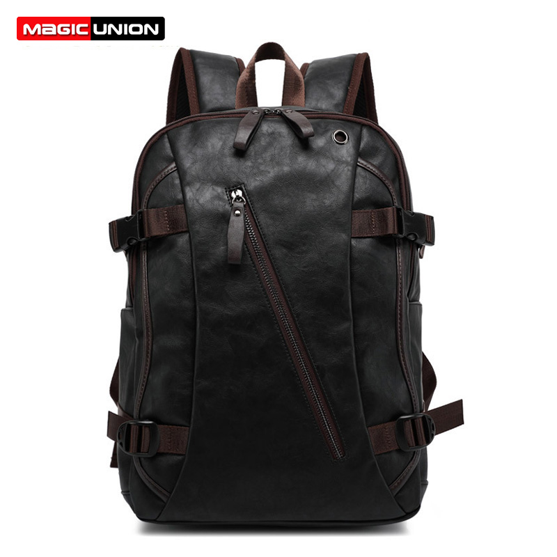 MAGIC UNION Men Oil Wax Leather Backpack Men's Casual Backpack & Travel Bags Western College Style Man Backpacks Mochila Zip Men image