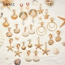 GWACC 2019 NEW Design Natural Ocean Shell Earrings Starfish Drop For Women Metal Gold Color Big Long Pearl