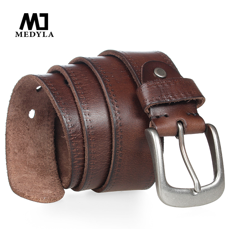 MEDYLA Italian Cow Leather Belt Vintage Cowboys Full Grain Genuine Leather Soft Coffee Luxury Designer Belts High Quality Strap