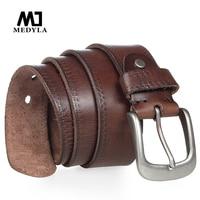 MEDYLA ceinture en cuir de vache italien Vintage Cowboys pleine fleur en cuir véritable café souple luxe Designer ceintures sangle de haute qualité