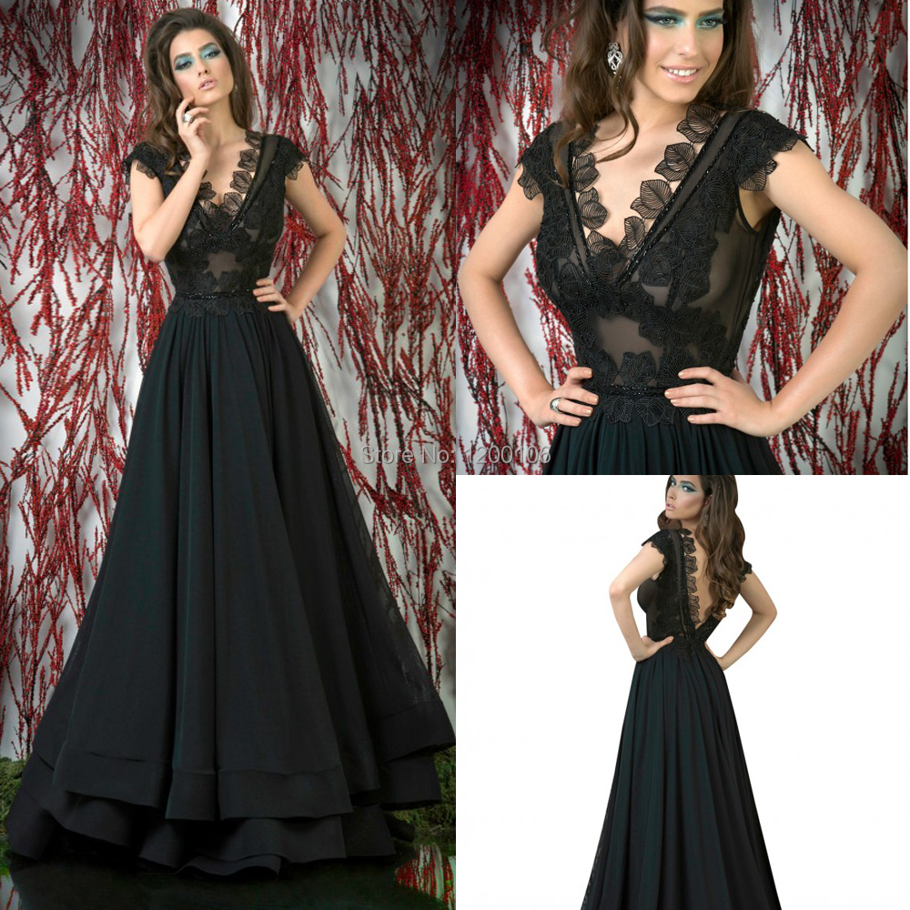 Modest Floor Length Black Dresses