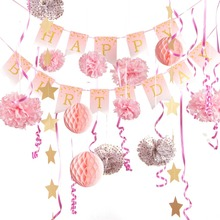 Birthday Party Decorations Set Gold Glitter Polka Dots Happy Banner Baby Girl First Princess