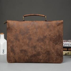 Image 4 - File Pocket Business Briefcase Mens Work Bag PU Leather Bag Men Office Camouflage Handbag Document Data Package A4 File Pocket