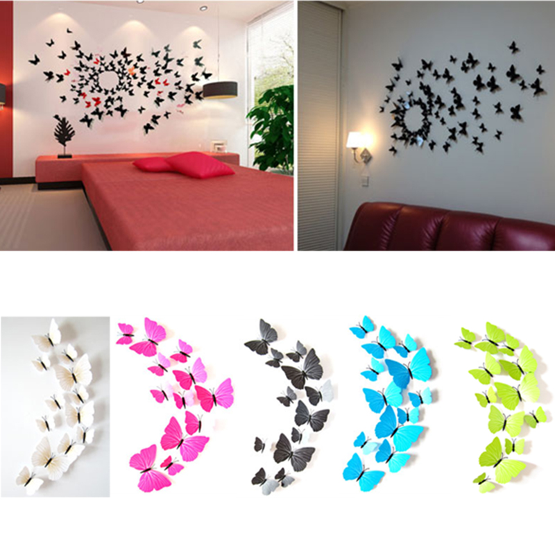 hot sale 3d butterfly wall decals multicolor pvc 3d butterfly wall stickers for tv wall kids. Black Bedroom Furniture Sets. Home Design Ideas