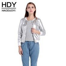 HDY Haoduoyi 2017 Autumn Fashion Women O-Neck Long Sleeve Basic Outwear Coat Casual Zipper Fly Slim Bomber Jacket