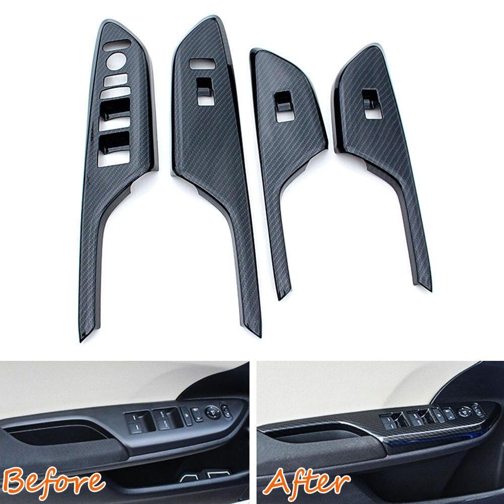 BBQ@FUKA 4pcs Carbon Fiber Style Car Interior decoration sticker Door Handle Panel Cover Trim For 2016 Civic Car styling yandex w205 amg style carbon fiber rear spoiler for benz w205 c200 c250 c300 c350 4door 2015 2016 2017