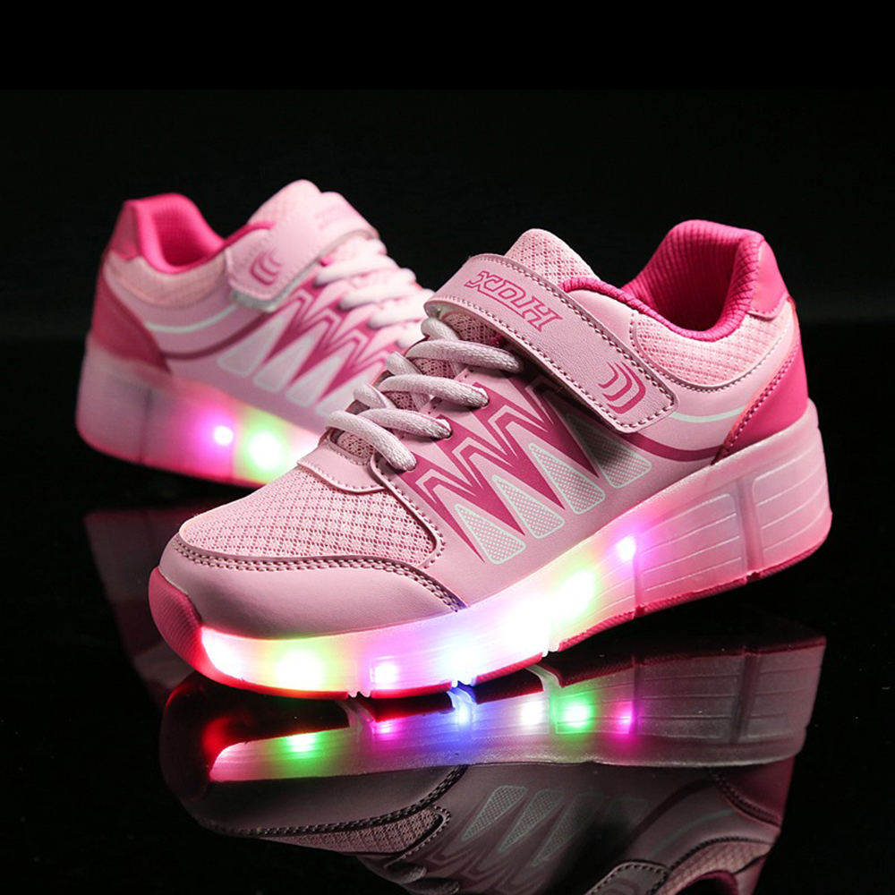 USB Chargeable LED Light WHeel Shoes Girls Boys Roller Wheels Shoes USB Charging Kids Roller skate Sneakers Children children roller sneaker with one wheel led lighted flashing roller skates kids boy girl shoes zapatillas con ruedas