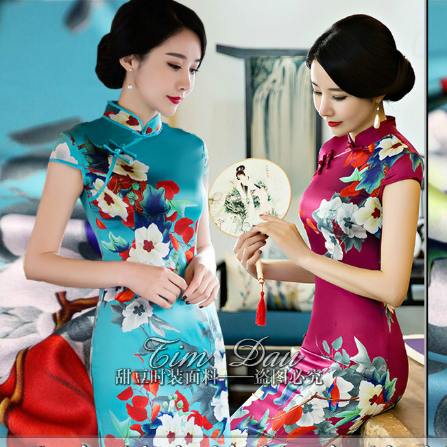 150cm elegant stretch printing fabric high imitation silk cheongsam flower digital print dress cloth