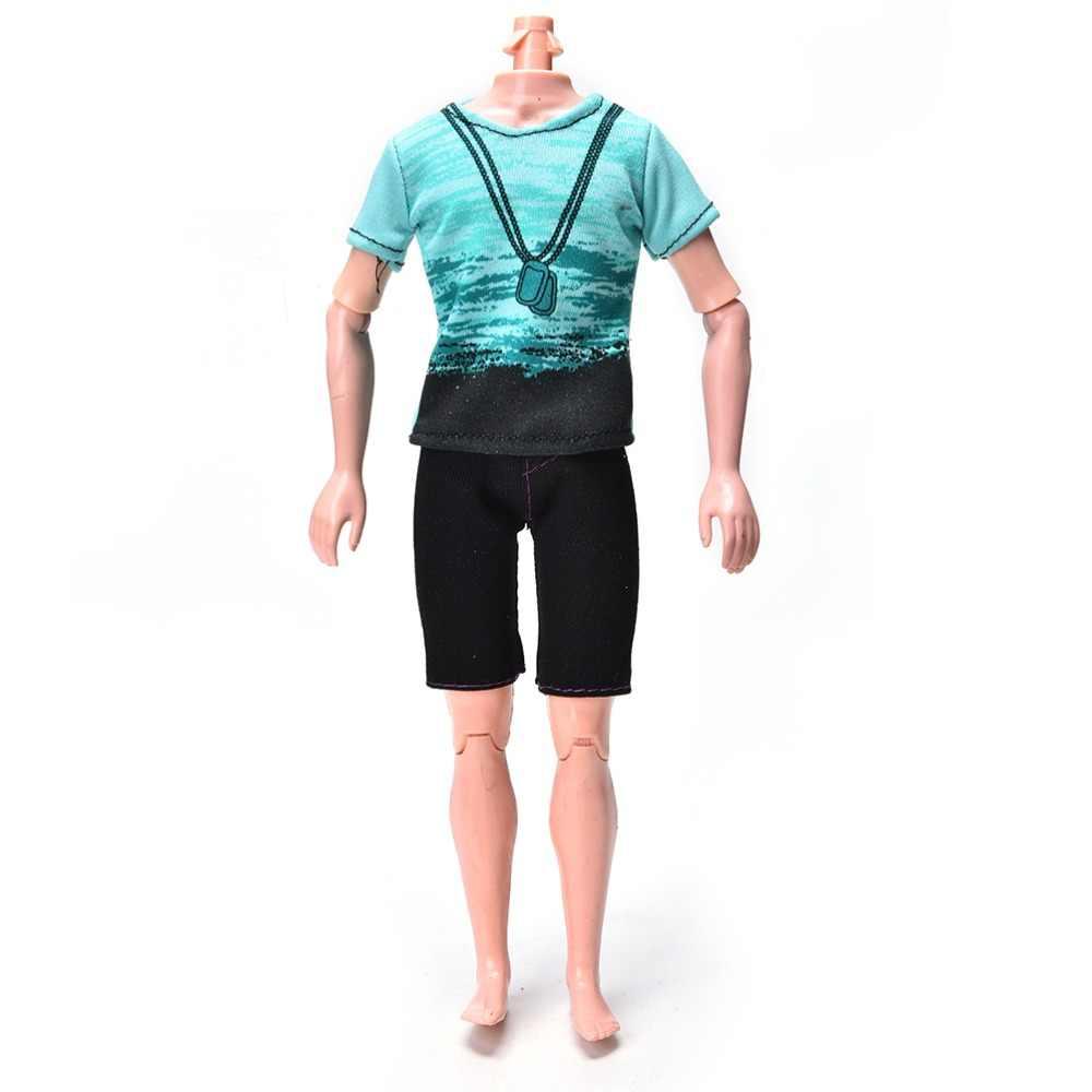 2 pièces/ensemble mode pantalon costume fait main vert T-Shirt noir court été pour fille vêtements de poupée