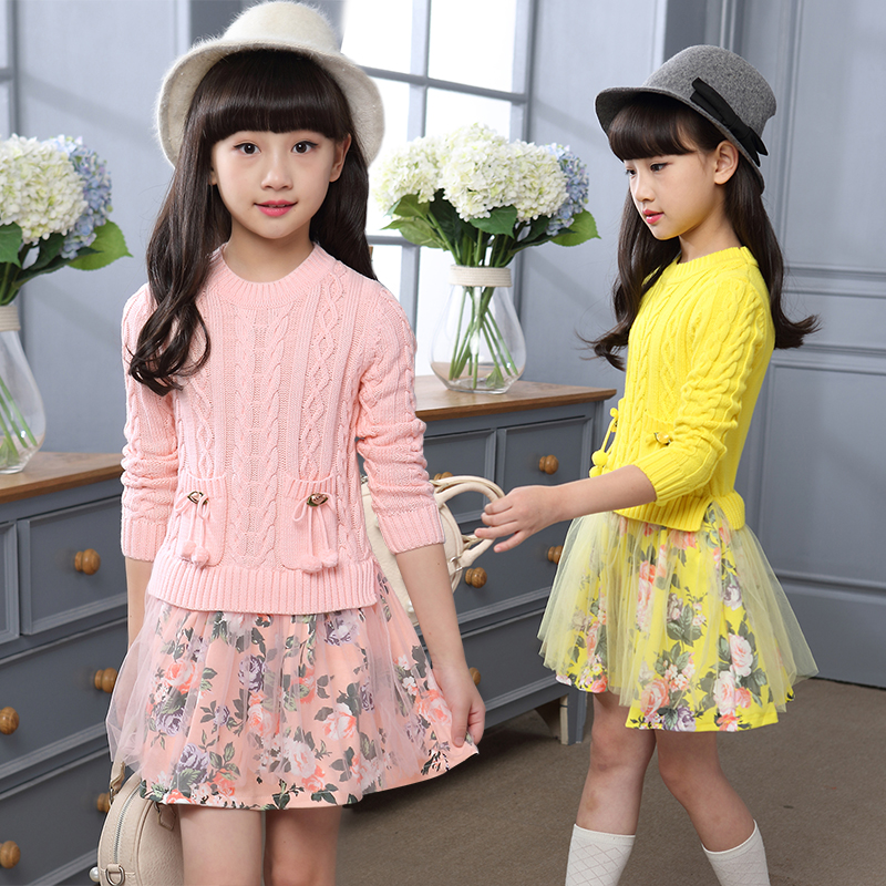 2018 New Winter Autumn Toddler Girls Knitted Dress Long Sleeve Sweater Pullover Kids Dresses For Girls Big Child Dress 10 12 14 2018 new arrival casual style long knitted dresses women round neck three quarter sleeve patchwork women knitted sweater dress