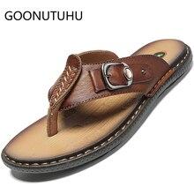 2019 new summer men's slippers casual genuine leather shoes male flip flops beach slipper man outdoor slipppers for men hot sale все цены