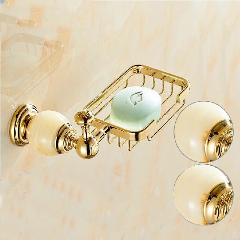Wholesale And Retail Wall Mounted Bathroom Soap Dish Holder Marble & Brass Bathroom Shower Soap Dishes Basket Golden Brass european style brass antique bronze solid brass bathroom soap holder soap basket bathroom accessories soap dish bathroom shelf