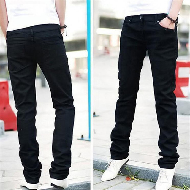 Мужские джинсы Новые 2018 Весна Осень Досуг тонкие дикие Модные мужские черные джинсы ноги прямые ковбойские брюки бесплатная доставка