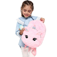 Kid Soft Unicorn Plush Bag Girl Mini Faux Fur Backpack Cute Children Zipper Schoolbag Toy Doll For Kidergarten