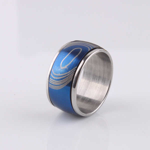 Blue decorative pattern Double layer Rotation 316L Stainless Steel finger rings men  jewelry  wholesale lots