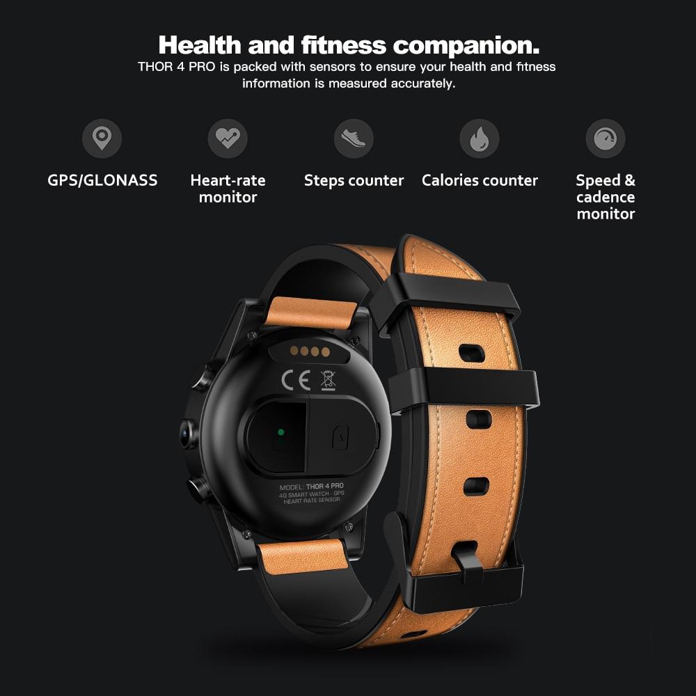 Zeblaze THOR 4 Pro 1.6 inch Crystal Display 16GB 600mAh 4G SmartWatch GPS/GLONASS Quad Core Hybrid Leather Strap Smart Watch Men - smart-warch, men
