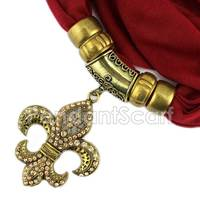 New Classical Antique Bronze Fleur De Lis Pendant Jewelry Scarf Jewellery Scarves Free Shipping SC0068