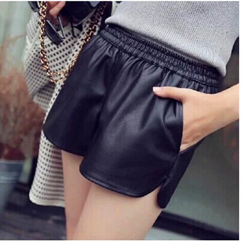 S-XXL 2018 New PU Leather Shorts Women's Black High Quality Short Pants With Pockets Loose Casual Shorts DK6162