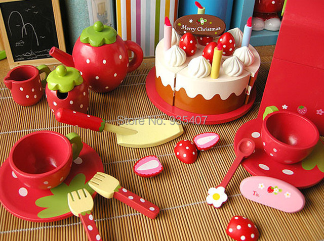 New wooden toy kitchen toy set simulation Cake set toy Baby toy