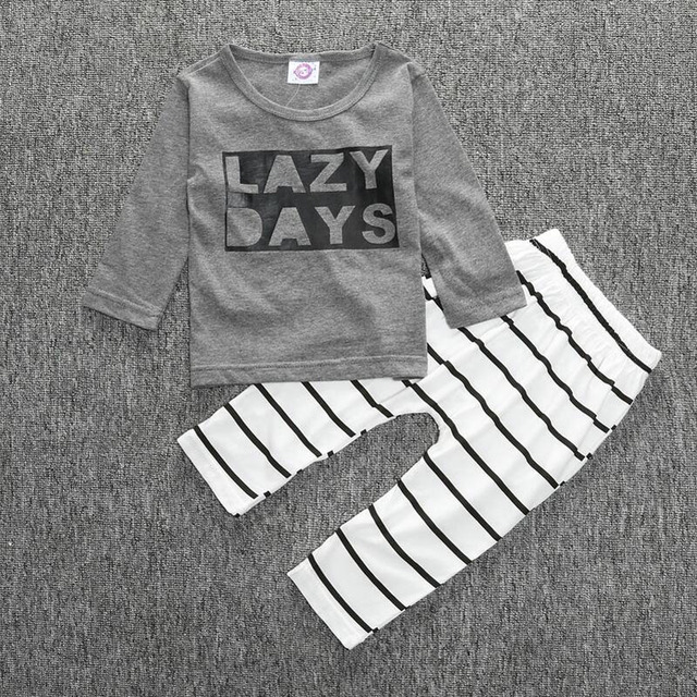 Fashion Baby Clothes Two-piece Suit Lovely Letters Printed Long Sleeve T-shirt + Striped Pants Infant Outfits Kids Clothes Set