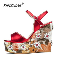 KNCOKAR2018European station summer new leather wedges and sandals fashion water drill super high heels thick platform platform s