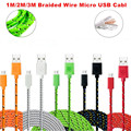 1M/2M3M Hot Selling Braided Fabric Micro USB Cord Data &Sync Charger Cable For Android Smart Phone for tablet PC