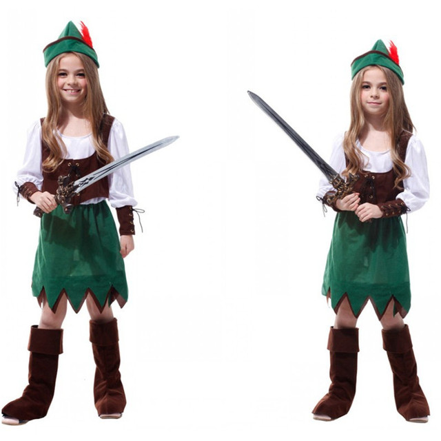 M-XL Costume di Halloween per I Bambini Ragazza Bambini Pirata Robin Hood  Cosplay Fantasia 3a6f5b33e36