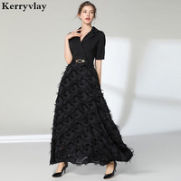 Noble Elegant Long Night Black Party Dresses Vestidos Mujer 2019 Spring White Women Maxi Dress Vestido Longo Robe Noel K6900