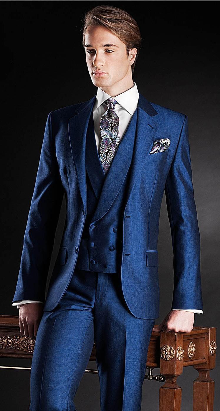 2017 Nuevo Slim Fit Groom Tuxedos Bule Mejor hombre Traje Notch Lapel - Ropa de hombre - foto 2