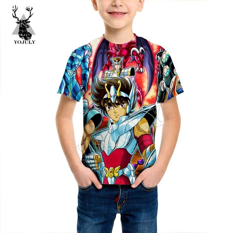 YOJULY Anime Saint Seiya 3D Full Printed T Shirt Child Kids Short Sleeve T-shirt Baby Summer Fashion O-neck Casual T Shirt KT63