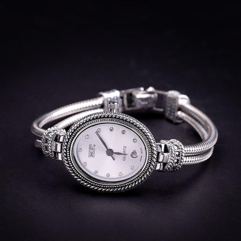 Nouvelle montre pour femme Quartz femmes horloge 925 en argent Sterling calendrier montre étanche créative tendance personnalité mme montre-bracelet