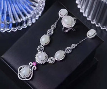 Natural white jade gem jewelry sets natural gemstone ring Necklace earrings 925 silver Exquisite round women party fine jewelry