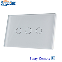 Bingoelec White Glass 3gang1way Remote Touch Switch Remote Control Light Switch AU US Standard AC110 250V