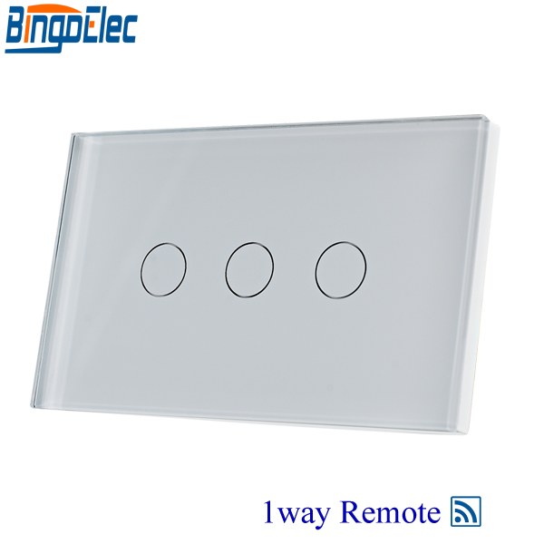 Bingoelec White Glass 3gang1way Remote Touch Switch ,Remote Control Light Switch AU/US Standard ,AC110-250V ,Good Quality. ac 250v 20a normal close 60c temperature control switch bimetal thermostat