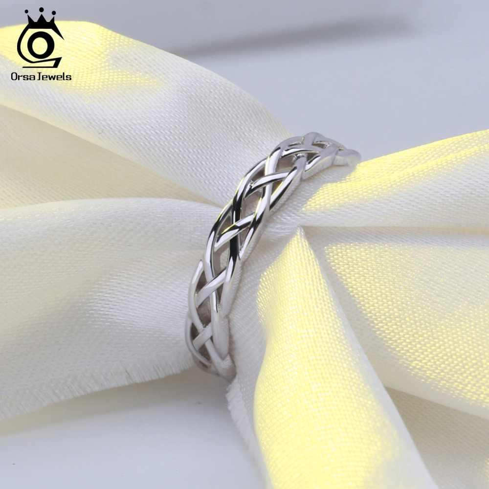ORSA JEWELS кольца из стерлингового серебра 925 Женские уникальные скрученная Форма Круглый Обручальное кольцо Модные ювелирные изделия Подарок на годовщину SR62