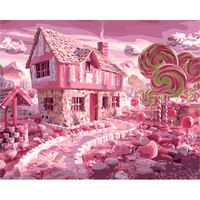 GONGOUYANG Oil Painting Framed Picture Painting By Numbers Abstract Candy House DIY Digital Canvas Oil Painting