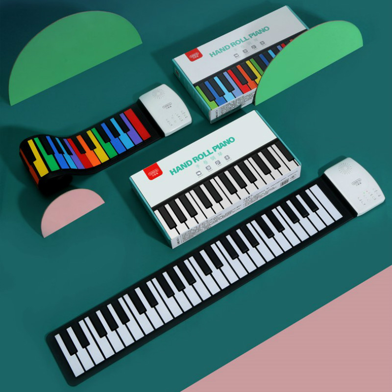 Portable 49 touches clavier numérique retroussable Piano Silicone électrique main Piano cadeau pour enfants jouet Instruments de musique bébé cadeau