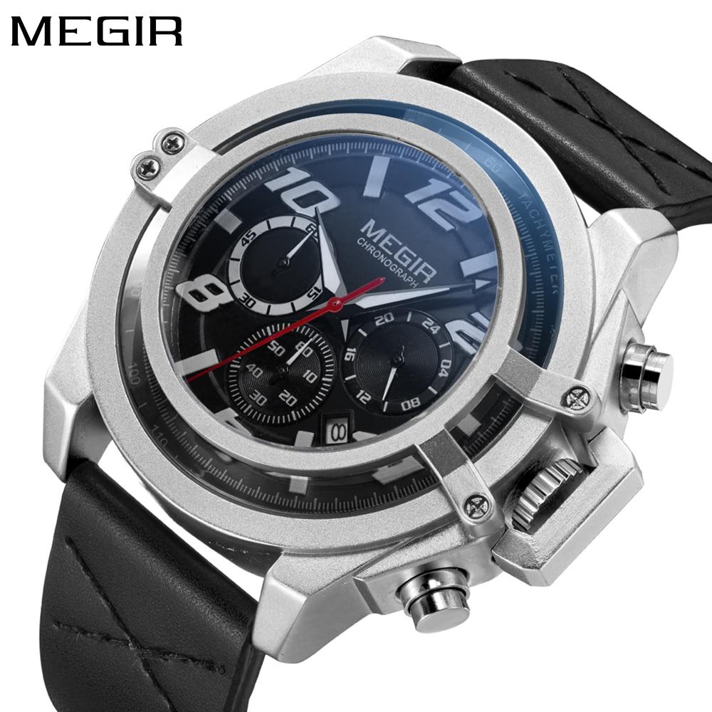 Top marque luxe MEGIR nouveau Style montre militaire hommes chronographe en cuir grand cadran Sport montre-bracelet Quartz horloge Relogio Masculino