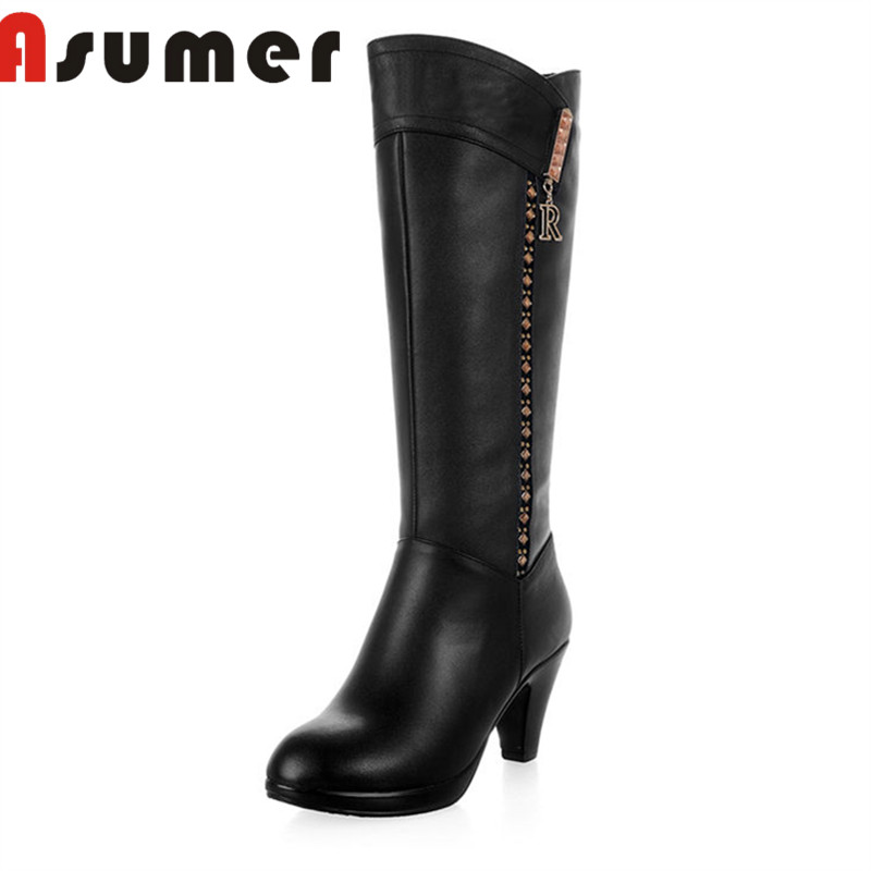 ASUMER HNEW 2018 high quality mid calf boots for women fashion adult winter boots round toe comfortable genuine leather bootsASUMER HNEW 2018 high quality mid calf boots for women fashion adult winter boots round toe comfortable genuine leather boots