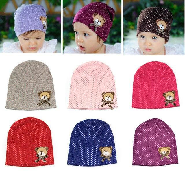 6a253f010c5 2017 New 7 Colors Toddler Newborn Kids Baby BB Girl Boy Polka Dot Cute Bear  Bonnet Warm Casual Hat Cap Beanie Hair Accessories