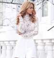 long sleeve high neck lace bodysuit