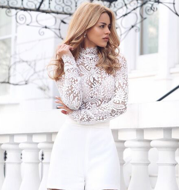 Long Sleeve High Neck Lace Bodysuit In Bodysuits From Women S