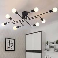 Luzes de teto de ferro forjado Vários haste cúpula teto lâmpada criativa nostalgia retro cafe bar lâmpada do teto|ceiling lamp|lamp creative|iron ceiling lights -