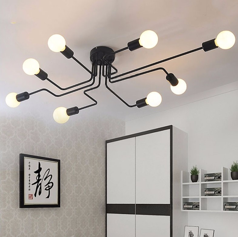 Wrought iron ceiling lights Multiple rod ceiling dome lamp creative retro nostalgia cafe bar ceiling lamp rh style popular in europe and the creative mall stores chain cafe cafe booth bronzing wrought iron wall lamp