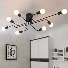 Wrought iron ceiling lights Multiple rod ceiling dome lamp creative retro nostalgia cafe bar ceiling lamp