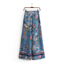 Лучший!  Европейская и американская женская одежда Осенние брюки с цветочным принтом и широкими штанинами