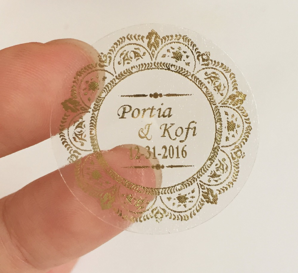 Personalised Sticker 90 Damask Wedding Personalised Clear Bomboniere Envelope Sticker Seals Labels