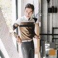 Весна мужские рубашки тонкий мужской clothing случайный цвет блока украшения печати с длинными рукавами рубашки