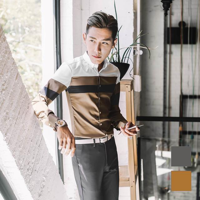 Camisa masculina primavera de los hombres delgados clothing casual decoración del bloque del color de impresión camisa de manga larga